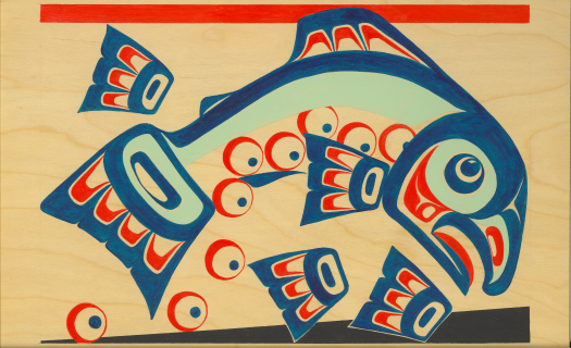 Tlingit salmon spawn painting by Robert Davis Hoffmann